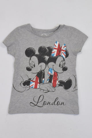 Disney Grey Mickey & Minnie London T-shirt Girls 7-8 years