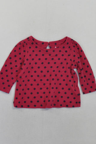 Gap Burgundy Polka Dot Long Sleeve Top Girls 3-6 months