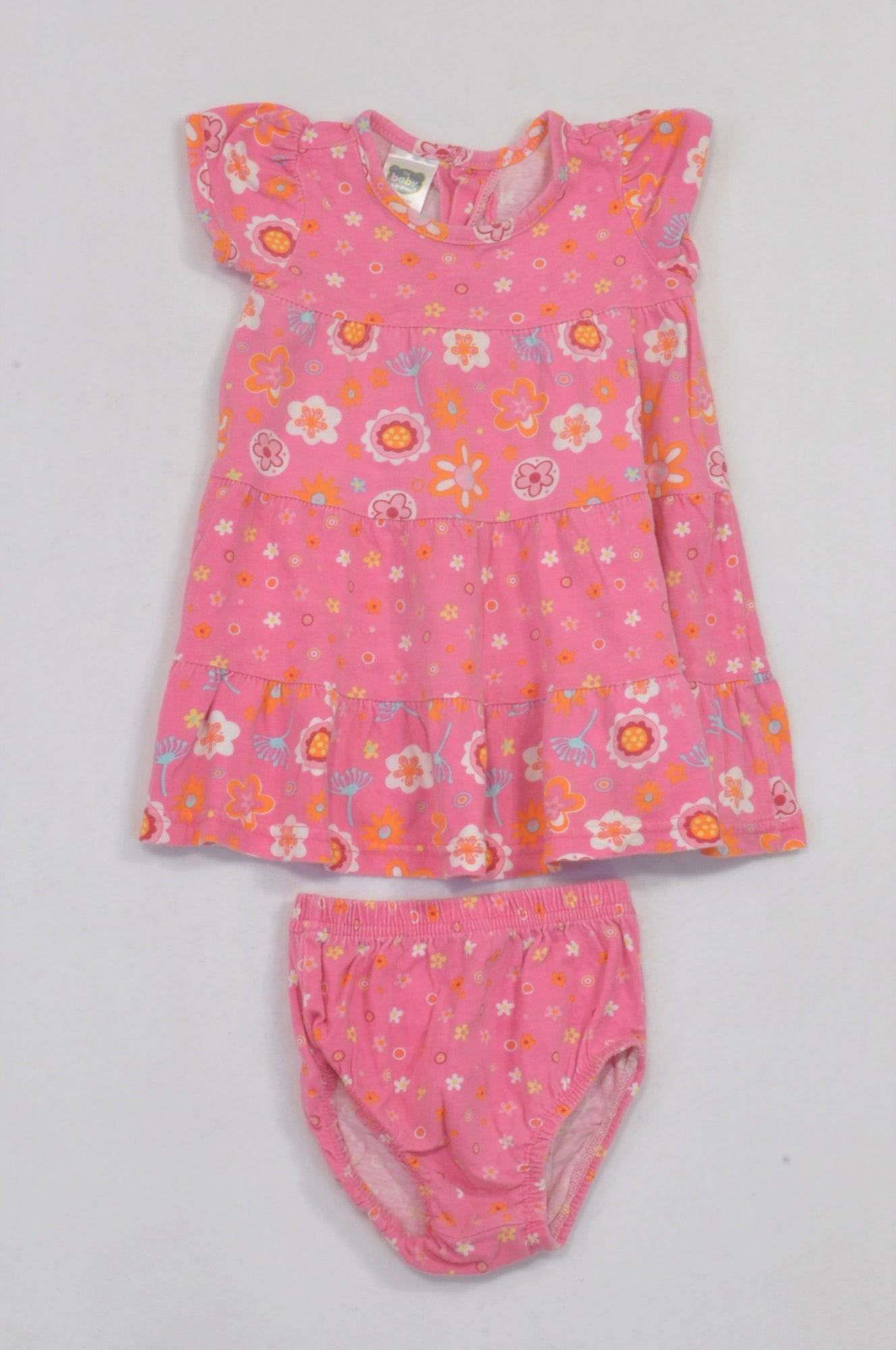 Ackermans Pink Assorted Flower Top & Bloomers Outfit Girls 0-3 months