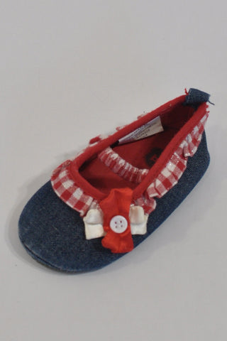 Denim And Red Plaid Ballet Shoes Girls 12-18 months