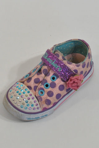 Skechers Purple Polka Dot Twinkle Toes Shoes Girls 2-3 years