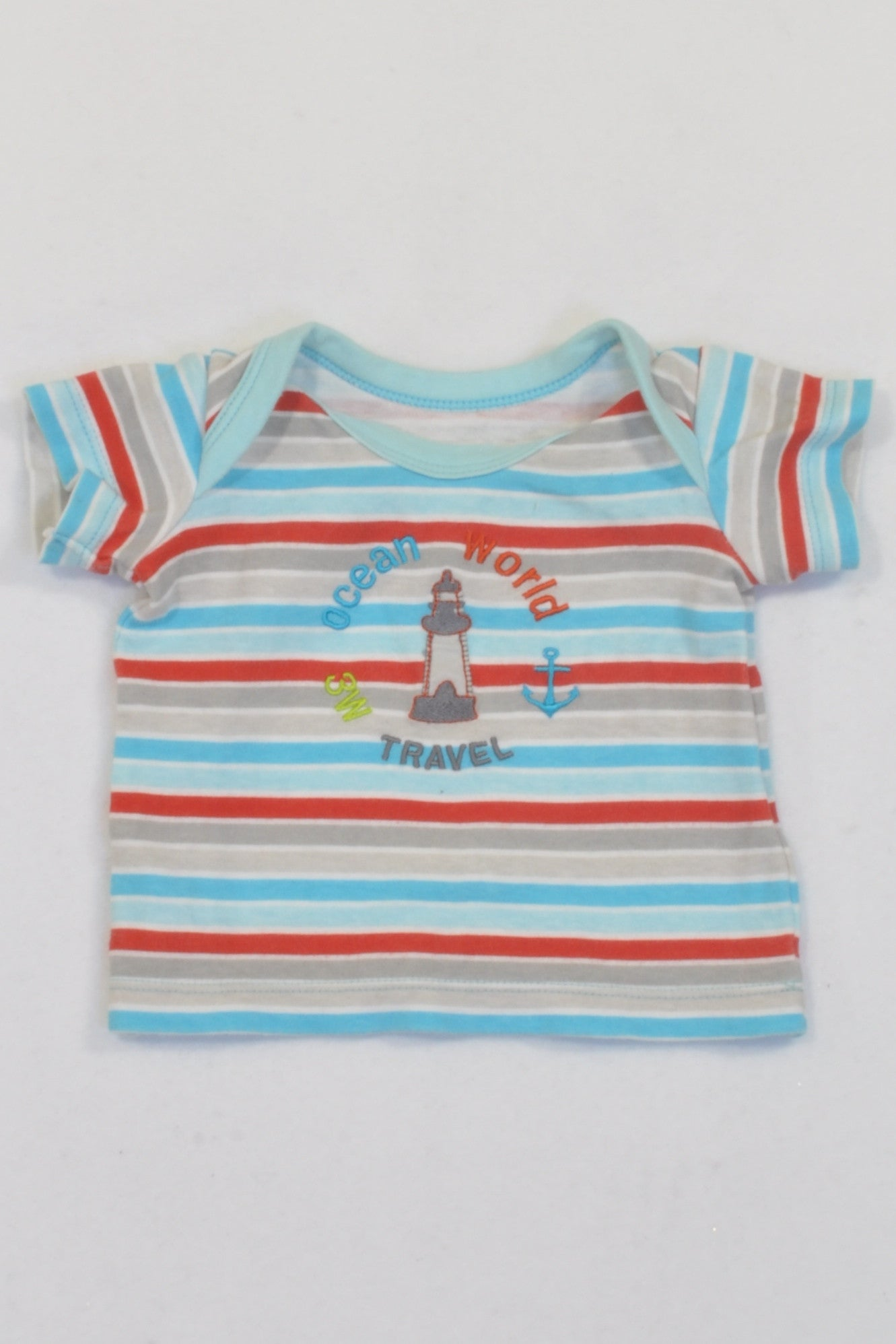 Woolies Blue & Red Stripe Lighthouse T-shirt Boys N-B