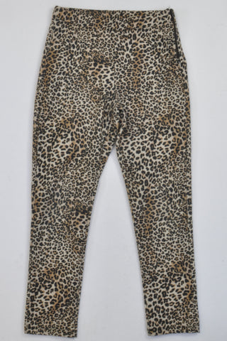 Zara Animal Print & Zip Detail Jeggings Girls 6-7 years