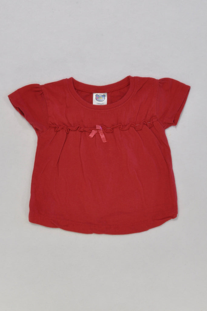 Red Bow T-Shirt Girls 0-3 months