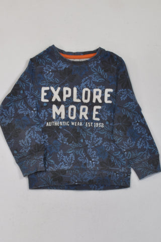 Distressed Blue Tropical Explore More Lightweight Jersey Boys 3-4 years