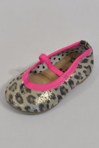 New Animal Print & Hot Pink Trim Ballet Shoes Girls 0-3 months