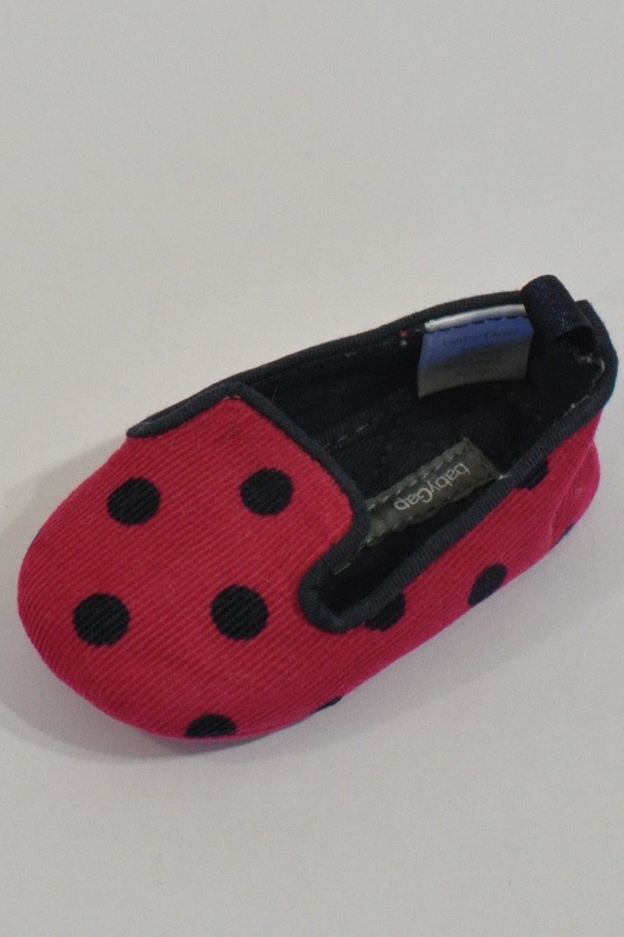 New Gap Cerise Polka Dot Corduroy Shoes Girls 3-6 months