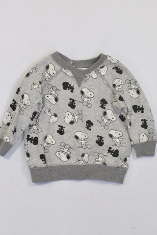 H&M Grey Snoopy 1 of 2 Jersey Unisex 6-9 months