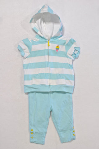 Carters Bright Blue Short Sleeved Hoodie Outfit Girls 3-6 months