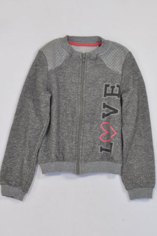 Grey Specked Love & Quilted Trim Zip Jersey Girls 5-6 years