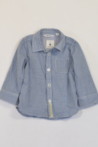 Country Road Blue Gingham Shirt Boys 6-12 months