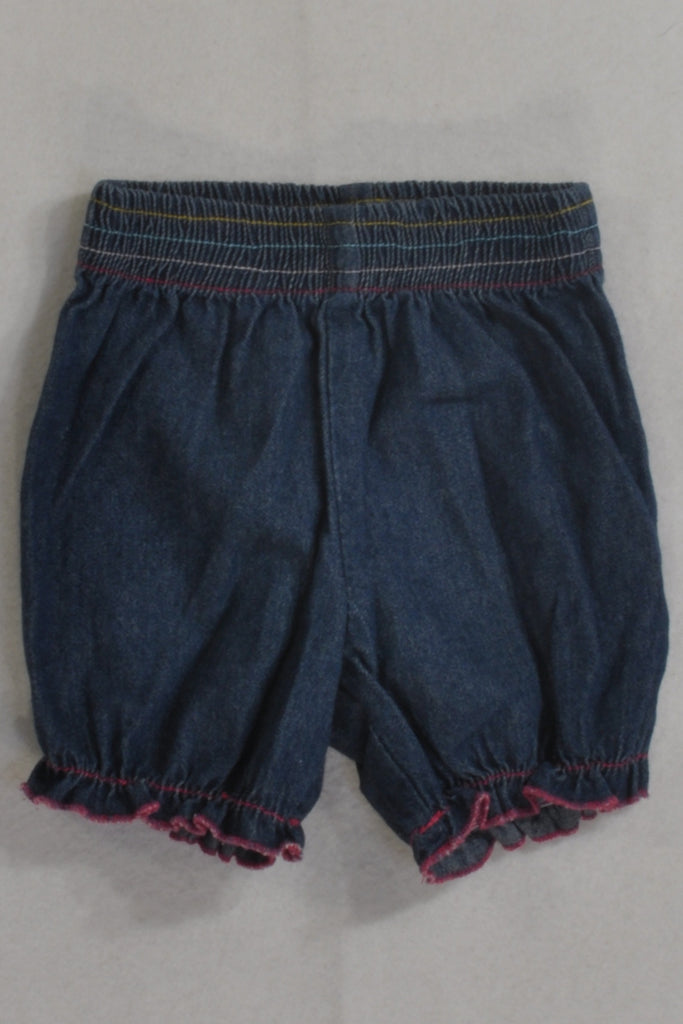 Denim Pink Stitched Bubble Shorts Girls 3-6 months
