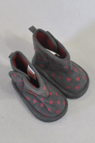 New Ackermans Size 1 Grey & Pink Star Ugg Boots Girls 3-6 months