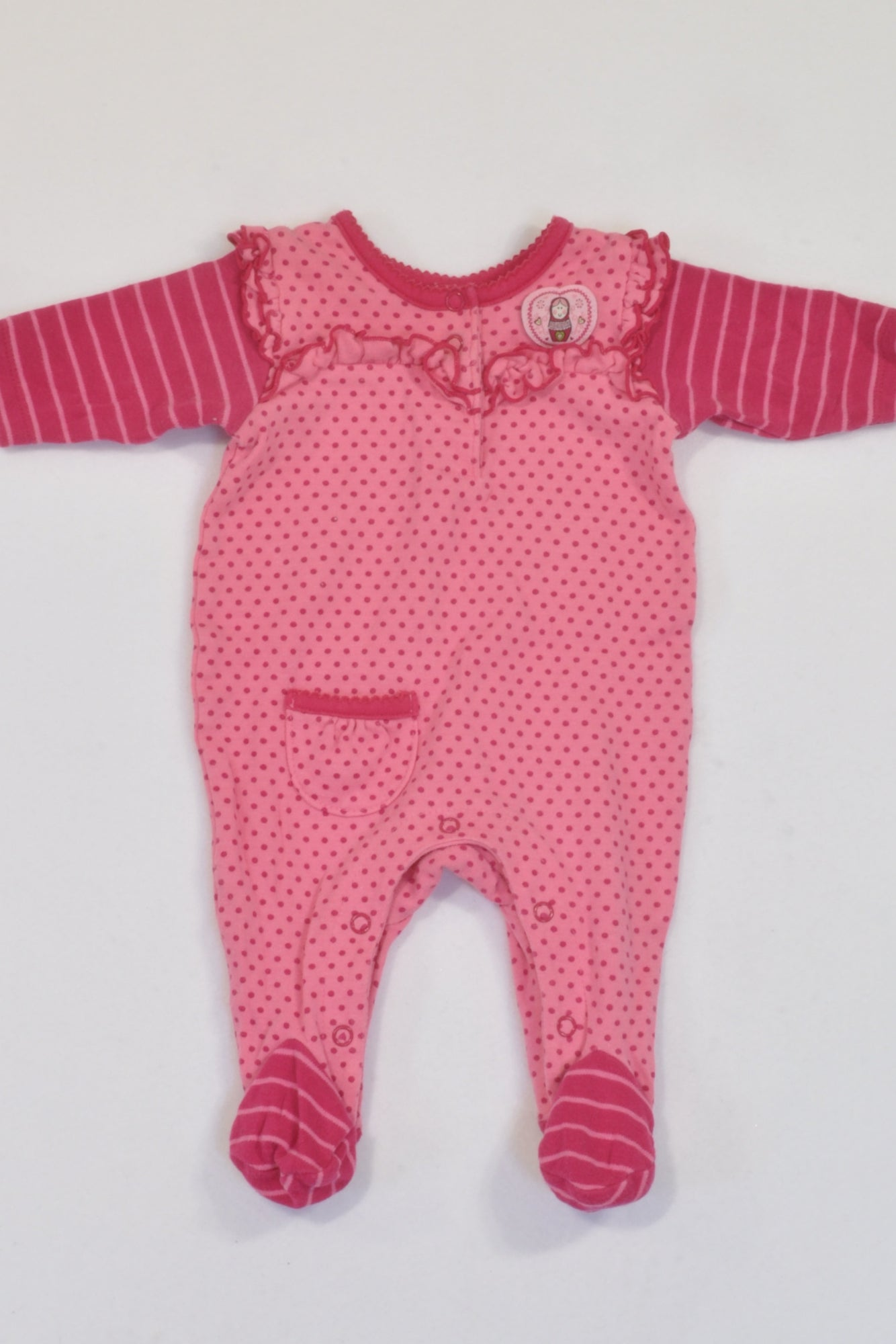 Pink Russian Dolls Matching Baby Grow, Onesie, Pants & Beanie Outfit Girls N-B