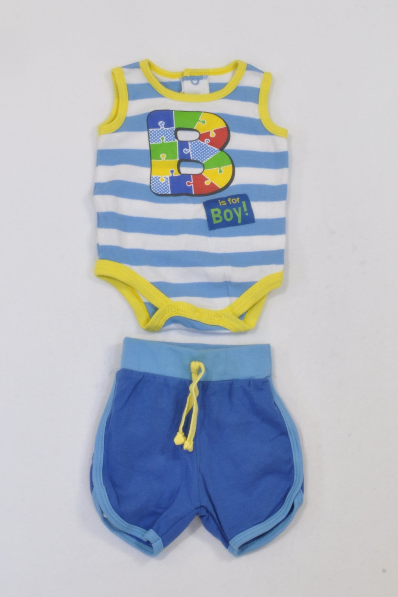 Woolies Blue & Yellow Trim Baby Grow & Shorts (1 of 2) Outfit Boys 0-3 months