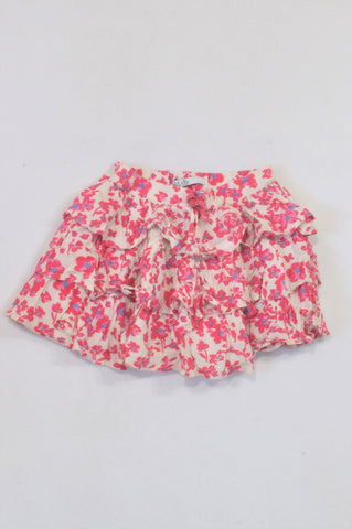 Marks & Spencers Pink Watercolor Floral Lined Skirt Girls 3-4 years