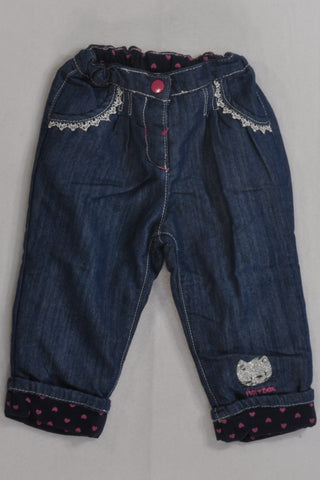 New Lace Trim & Pink Heart Lined Jeans Girls 12-18 months