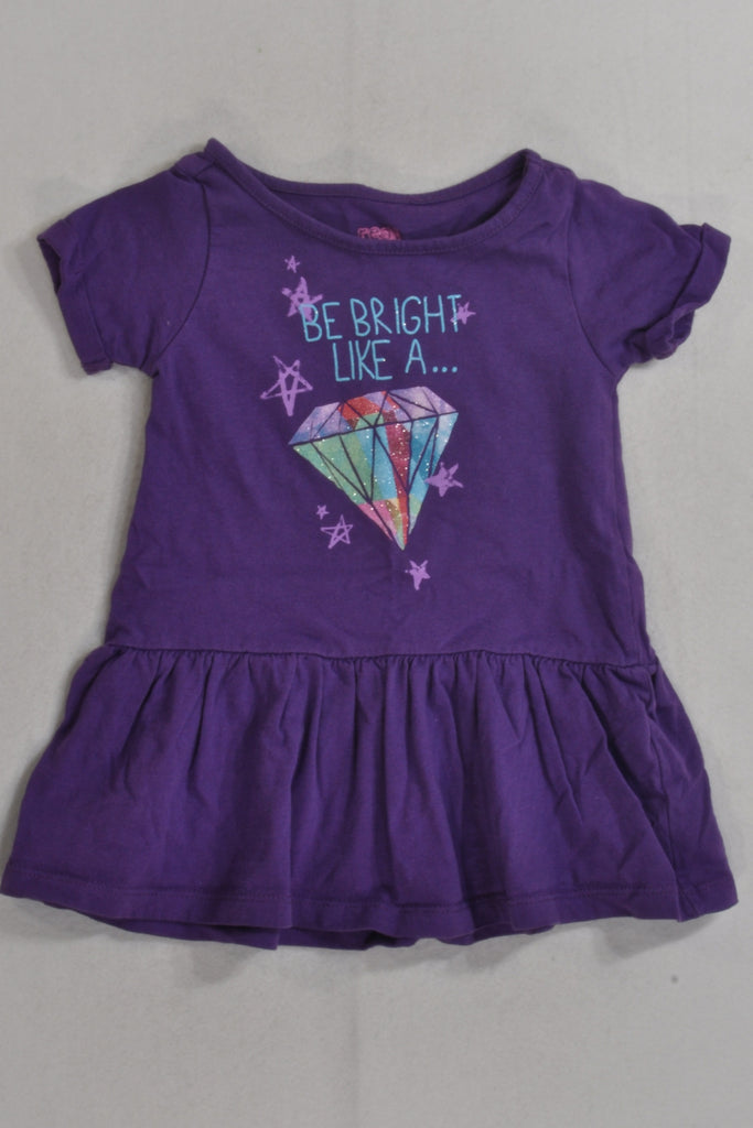 Purple Bright Like A Diamond Dress Girls 1-2 years