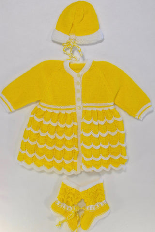Bright Yellow Cardigan Dress, Hat, & Booties Girls 3-6 months