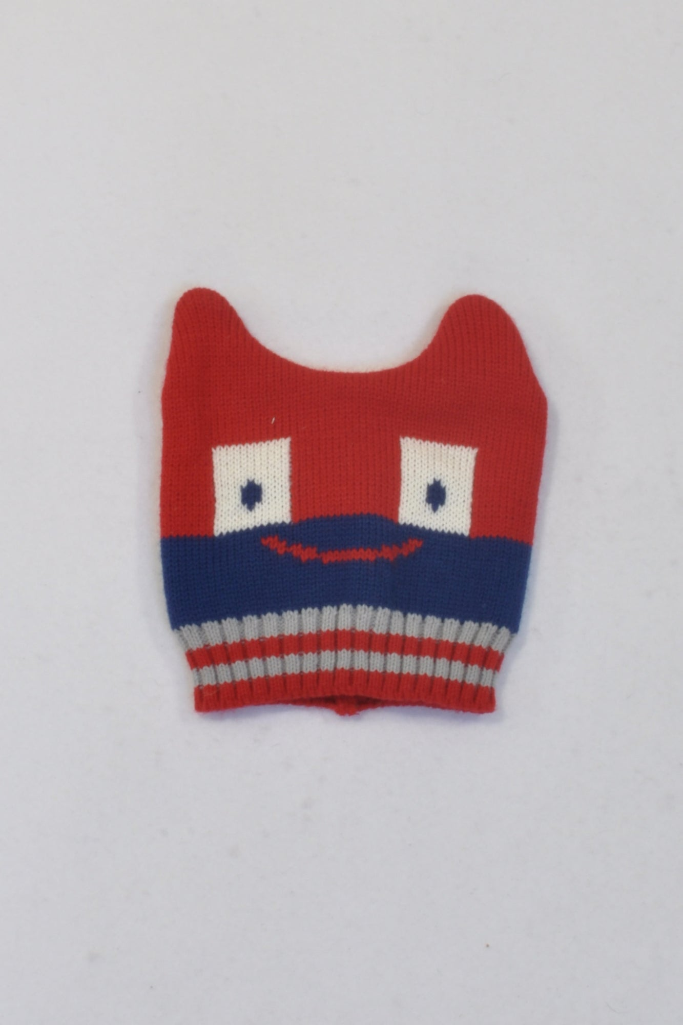 Red & Blue Smiling Monster Beanie Boys 3-6 months