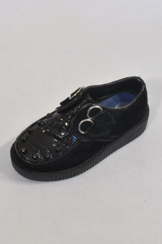 Black & Faux Suede Platform Shoes Girls 4-5 years