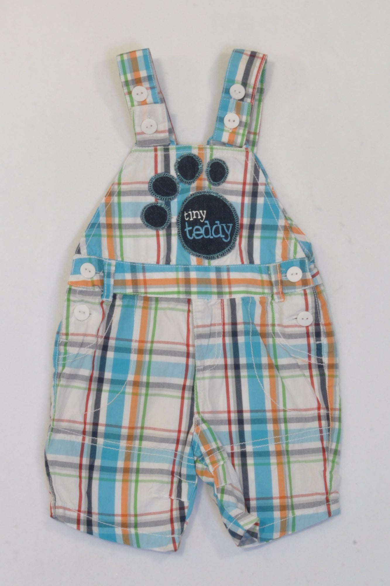 Multicolour Plaid Tiny Teddy Paw Dungarees Boys 0-3 months