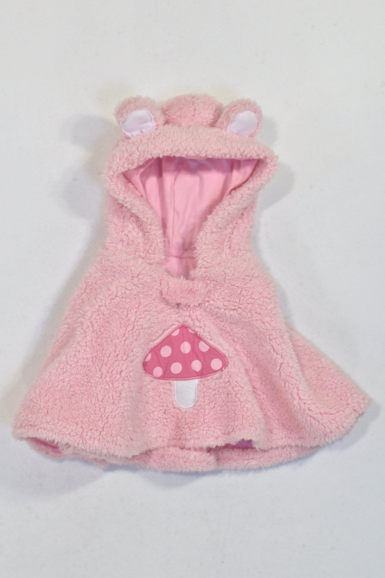 Woolies Pink Fleece Mushroom Hooded Cape Jacket Girls N-B