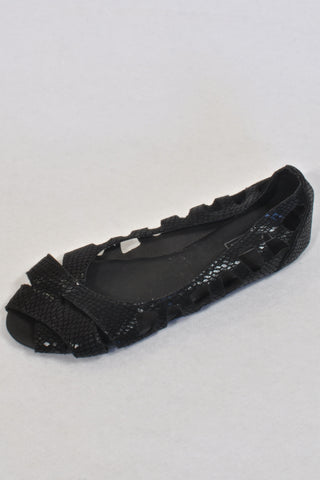 "New Mr Price Black Sueded ""Snake Skin"" Peep Toe Shoes Girls 7-8 years"