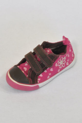 Ackermans Velcro Pink Heart & Brown Faux Suede Shoes Girls 2-3 years
