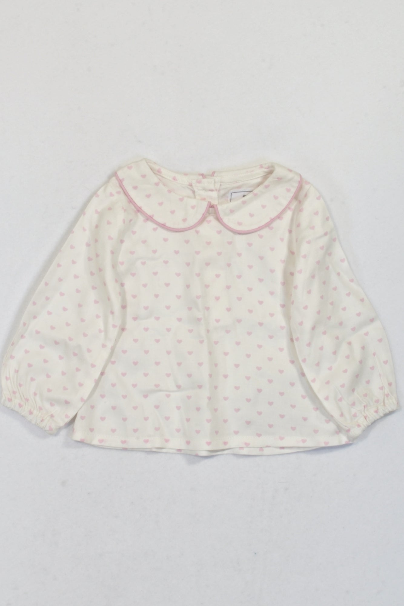 New Cream Heart Peter Pan Collar Blouse Girls 3-6 months