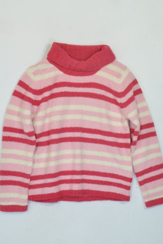 New Pido Mano Pink Stripe Soft Fleece Polo Neck Jersey Girls 6-7 years
