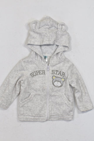 Ackermans Grey Velour Super Star Bear Hoodie Unisex 0-3 months