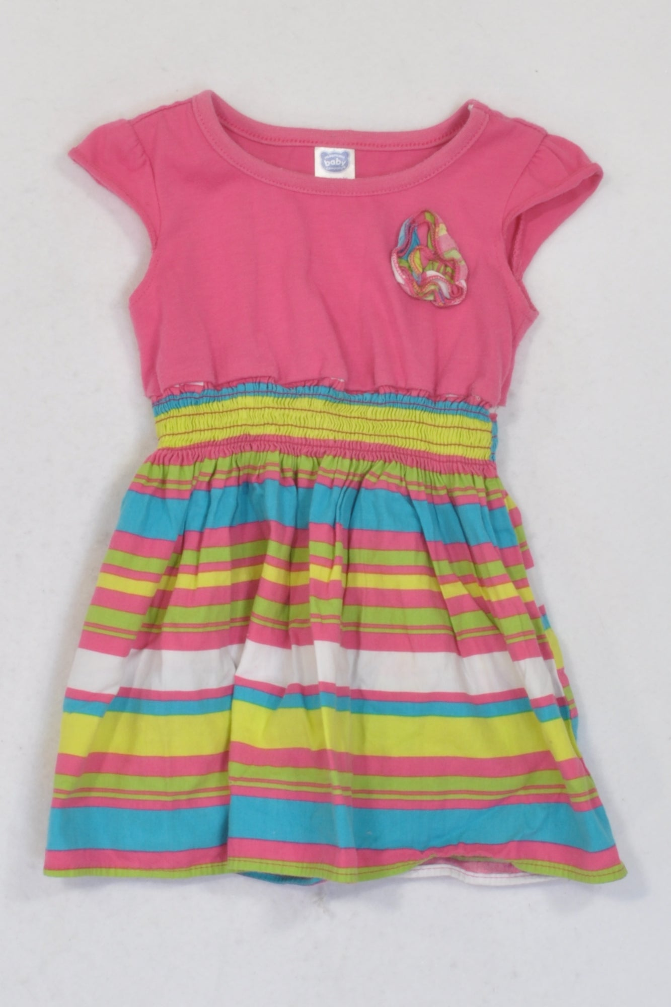 Ackermans Pink & Multi-colour Stripe Dress Girls 6-12 months
