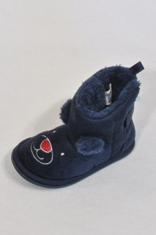 Ackermans Navy Bear Lined Fleece Bootie Slippers Boys 12-18 months