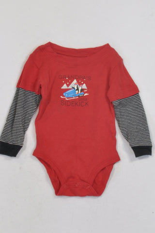 Carter's Red Grandpa's Little Sidekick Penguins Baby Grow Unisex 9-12 months