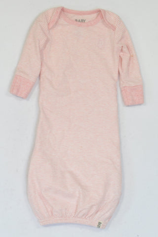 Cotton On Heathered Pink & White Stripe Long Sleeve Sleep Sack Girls 0-3 months