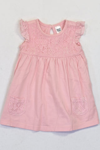 Ackermans Pink Lace Inset & Pocket Dress Girls 3-6 months