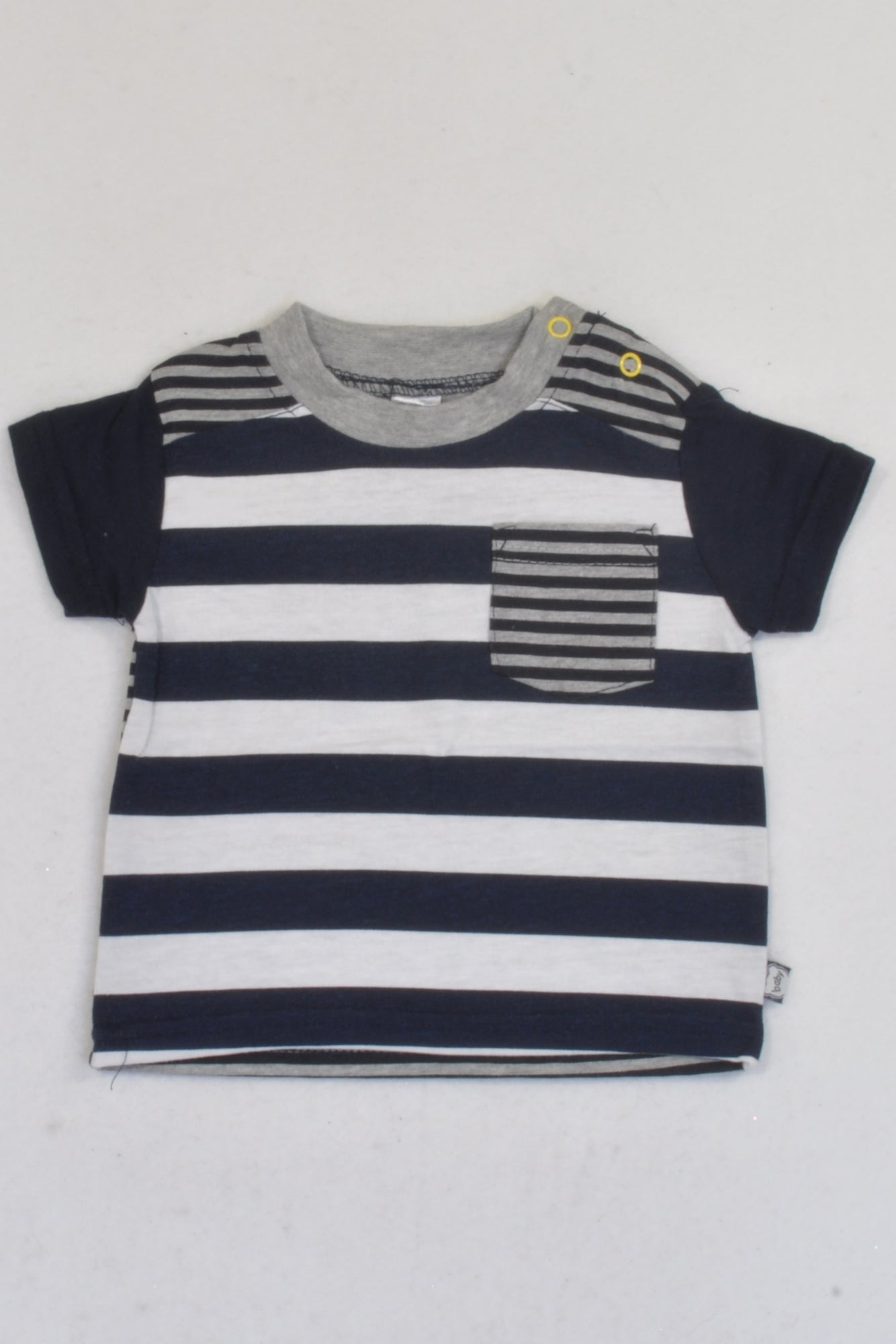 Ackermans Navy & White Stripe Pocket Detail T-shirt Boys 0-3 months