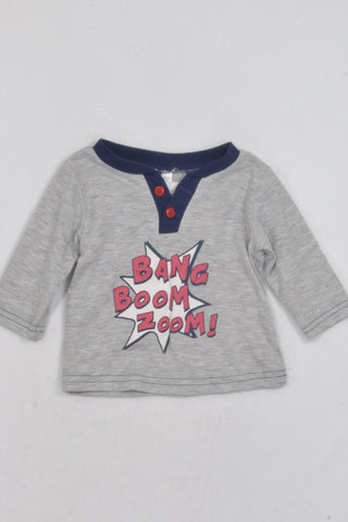 Ackermans Grey Bang Boom Zoom T-shirt Boys 3-6 months
