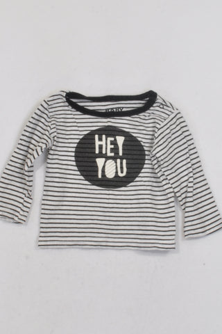 Cotton On White & Black Stripe Hey You T-shirt Unisex 3-6 months