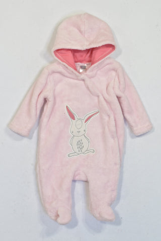 Ackermans Baby Pink Fleece Hooded Bunny Onesie Girls N-B