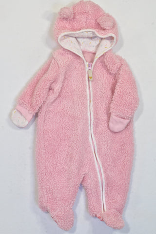 Woolworths Pink Fleece Mittens Hooded Onesie Girls 0-3 months