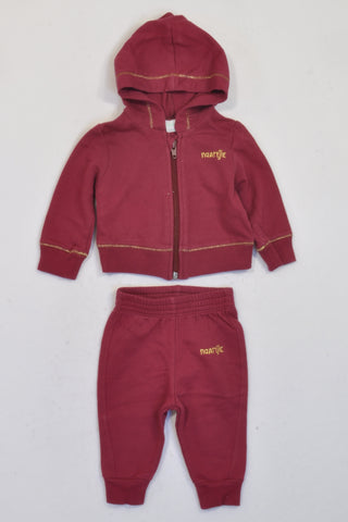 Naartjie Maroon Gold Trim Track Suit Girls 0-3 months