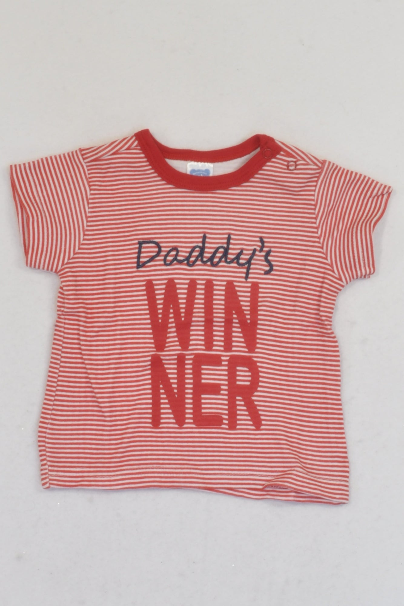 Ackermans Red Stripe Daddy's Winner T-shirt Boys 0-3 months