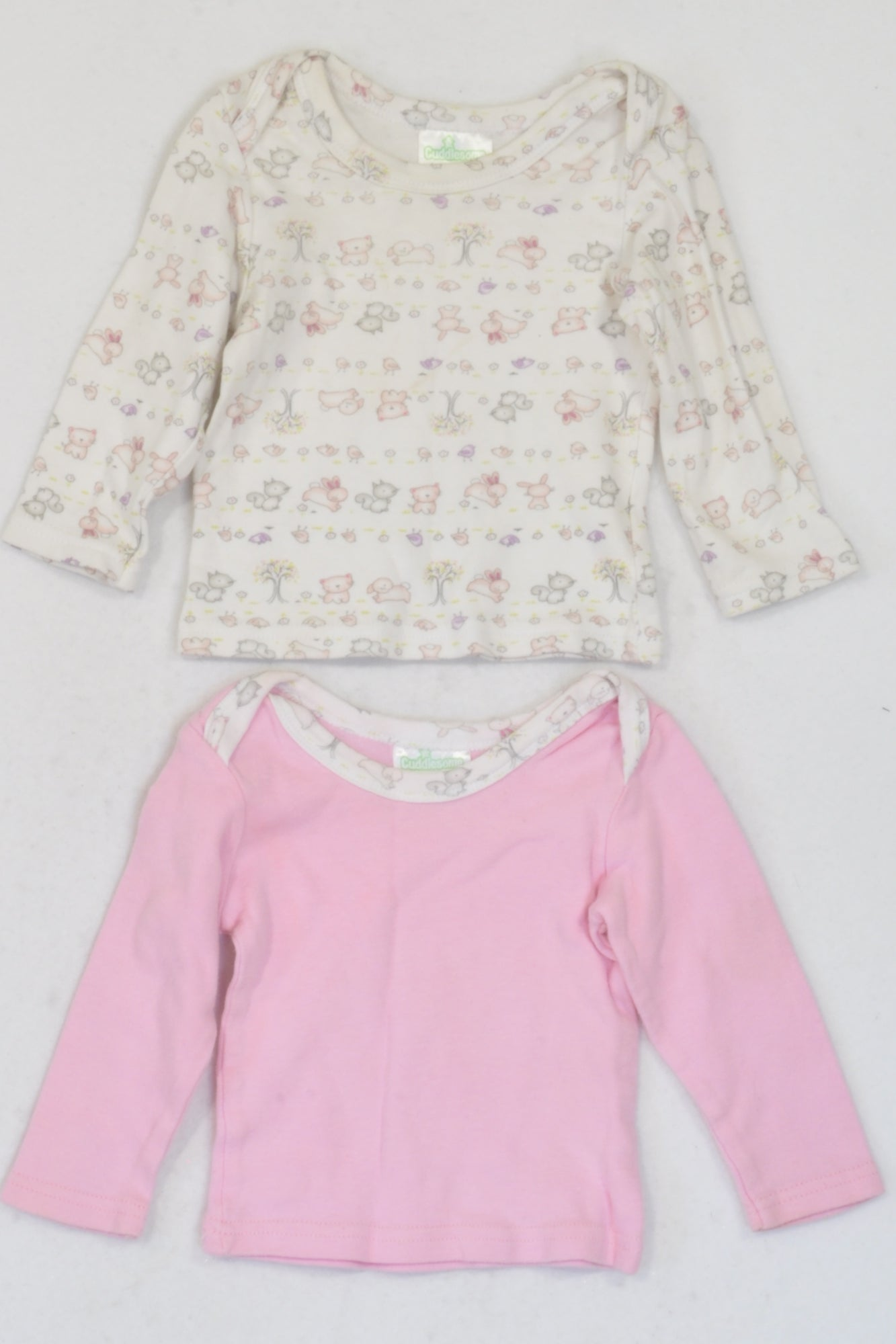 Cuddlesome Pink & White Garden Animals Long Sleeve 2 Pack Top Girls 3-6 months