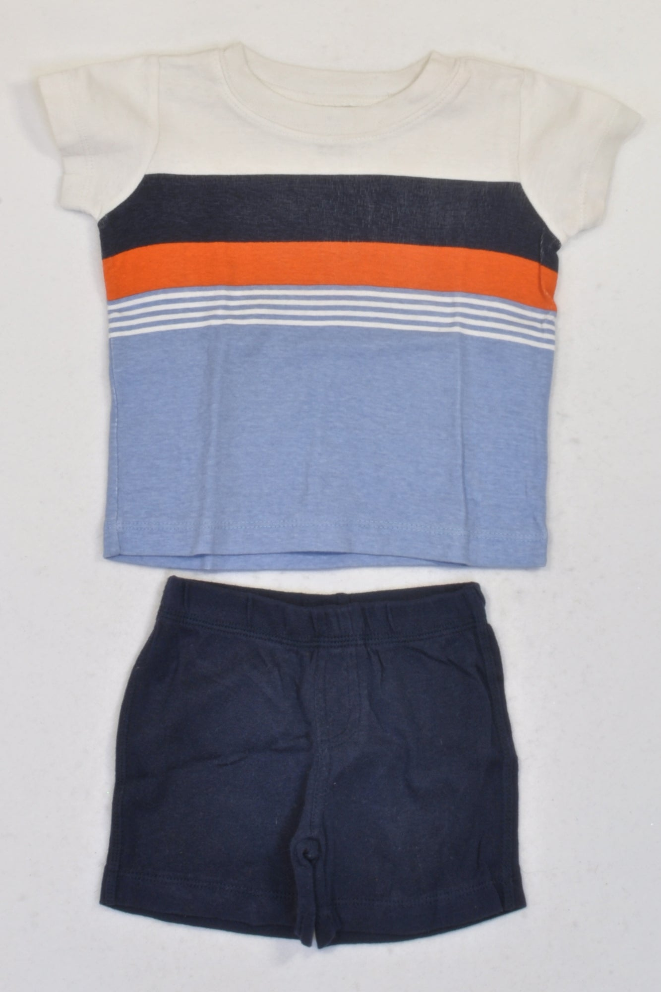 Carter's Blue & Orange Stripe T-shirt & Navy Shorts Outfit Boys 6-9 months