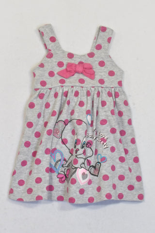 Tweety Grey & Pink Polka Dot Dress Girls 0-3 months