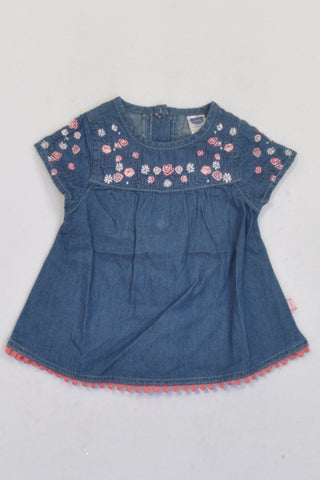 Ackermans Denim Rose & Lace Trim Dress Girls 0-3 months