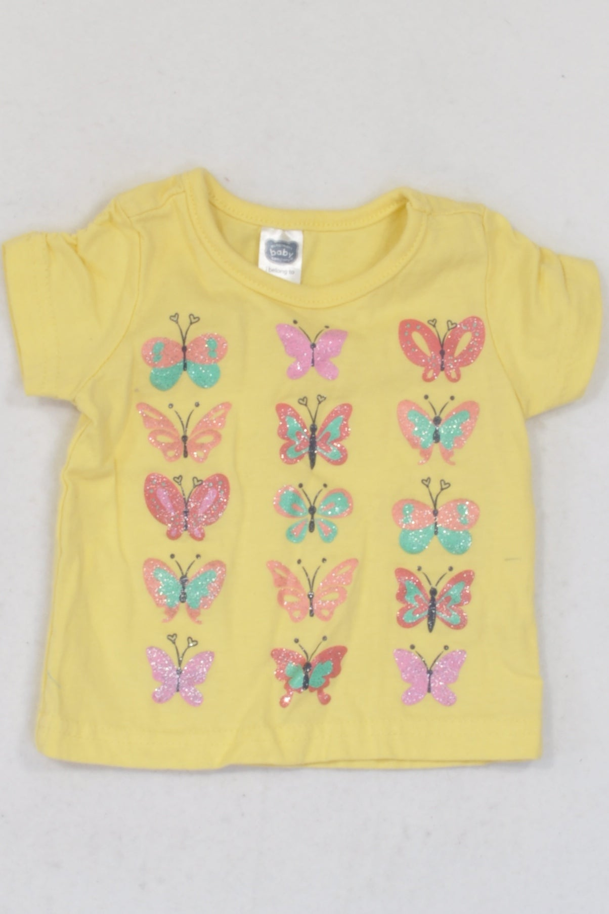 Ackermans Yellow Glitter Butterfly T-shirt Girls 0-3 months