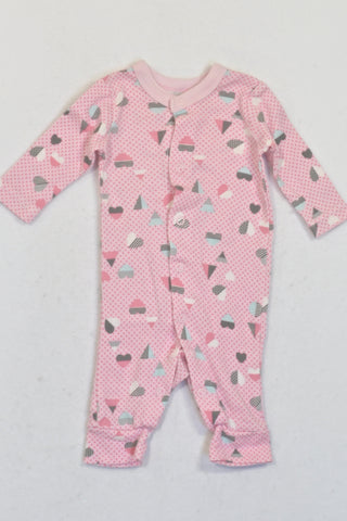 Woolworths Pink Dotty Triangles & Hearts Onesie Girls N-B